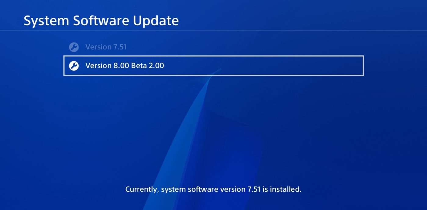 PS4: System Software Update Version 8.00