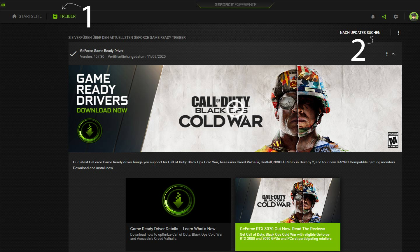 GeForce App: Treiber aktualisieren - Screenshot: DailyGame.at