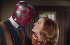 (L -R): Paul Bettany as VIsion and Elizabeth Olsen as Wanda Maximoff in Marvel Studios' WANDAVISION exclusively on Disney+. Photo courtesy of Marvel Studios. ©Marvel Studios 2020. All Rights Reserved.