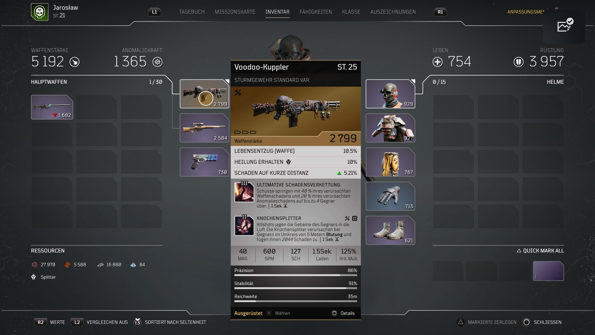Outriders Tipps Waffen Inventar © Squre Enix Screenshot DailyGame